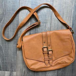 Merona Tan Adjustable Crossbody Bag Magnetic Close